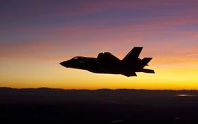 Обои истребитель, силуэт, бомбардировщик, Lightning II, Lockheed Martin, F-35A