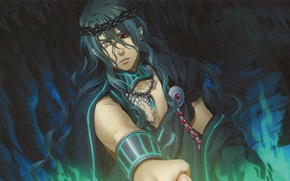 Картинка ночь, тату, амулет, плащ, венок, длинные волосы, art, разные глаза, visual novel, Kamigami no Asobi, …