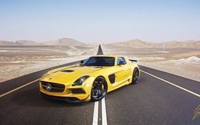 Обои mercedes-benz, amg, sls, black edition, supercar, yellow, road