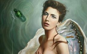 Картинка бутылка, вода, девушка, раковина, арт, Christiane Vleugels, рука