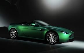 Картинка зелень, фон, Aston Martin, астон мартин, родстер, кабриолет, Vantage S Roadster