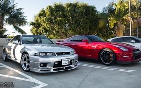 Картинка nissan, turbo, red, wheels, skyline, japan, jdm, tuning, gtr, front, face, racing, r33, r35, nismo, …