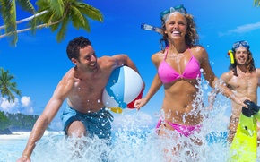 Картинка wet, sea, fun, friends, bikini