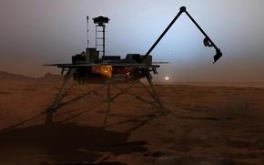Обои Деймос, Фобос, Марс, Феникс, Солнце, посадочный модуль