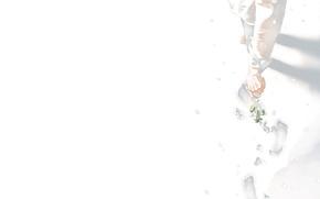 Картинка цветы, следы, рука, art
