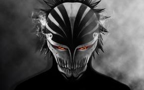 Картинка глаза, дым, тень, маска, bleach, ичиго, хичиго
