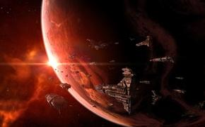 Картинка планета, звёзды, флот, space ships, Космические корабли