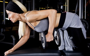 Обои fitness, blonde, workout, gym