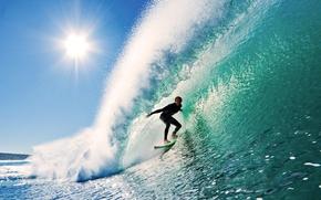 Картинка небо, солнце, волна, серфинг
