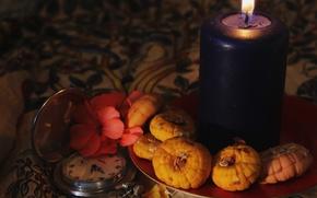 Картинка цветок, свет, огонь, часы, свеча, тарелка, натюрморт, мягкость, теплота
