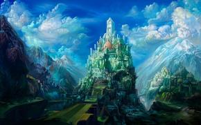 Картинка город, рисунок, гора, 152