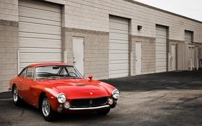 Обои ferrari, 250, gt, ретро, красный, гаражи