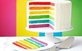Обои радуга, colorful, торт, rainbow, cake, Happy, День Рождения, Birthday