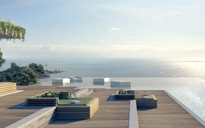 Картинка океан, вилла, вид, бассейн
