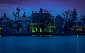Обои огни, Нидерланды, ночь, Зандам, река Зан, дома