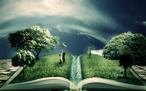 Картинка зелень, деревья, дети, креатив, книга