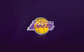 Картинка Баскетбол, Фон, Логотип, Фиолетовый, NBA, Лос Анджелес, Los Angeles Lakers