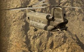 Обои солдаты, вертолет, полет, горы