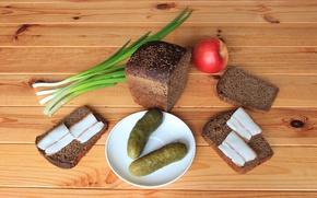 Обои яблоко, лук, хлеб, огурцы, бутерброды, закуска, сало