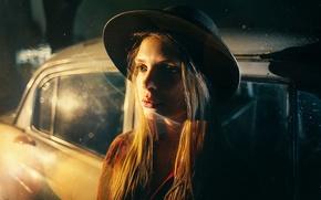 Картинка машина, взгляд, стиль, модель, шляпа, мода, боке, Маша