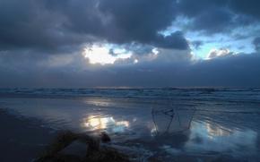 Картинка Облака, Море, Пляж, Буря, Берег, Врата