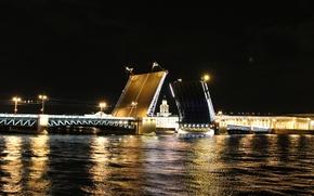 Картинка ночь, Питер, мосты