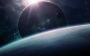 Картинка космос, планеты, горизонт, qauz