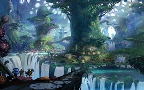 Картинка деревья, дома, арт, водопады, путники