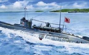 Картинка берег, лодка, рисунок, арт, залив, подводная, эсминец, японская, WW2, I-27