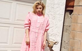Картинка солнце, платье, розовое, прическа, блондинка, фотосессия, Chloe Moretz, InStyle, Хлоя Моретц, Tung Walsh, акториса