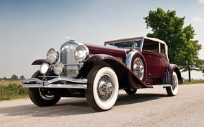 Картинка ретро, красивая машина, SJ 272 2293, by Rollston, Duesenberg, Victoria, Дюзенберг, передок, Convertible, небо, 1931