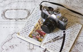 Картинка фон, камера, тетрадь