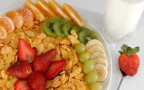 Обои banana, strawberry, milk, киви, food, мандарин, mandarin, fork, молоко, dessert, вилка, десерт, сладкое, кукурузные хлопья, ...