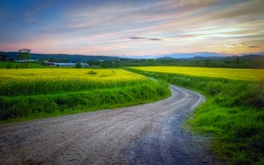 Картинка дорога, поле, небо, облака, Швеция, Вермланд, Värmland