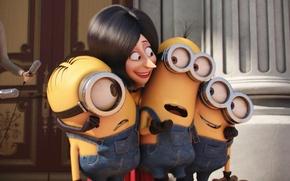 Картинка cinema, woman, yellow, eyes, smile, microphone, england, Kevin, cartoon, movie, queen, film, Cyclops, Minions, adventure, …
