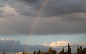 Картинка небо, облака, деревья, тучи, дома, радуга, Курск