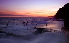 Картинка море, волны, вечер, крюки