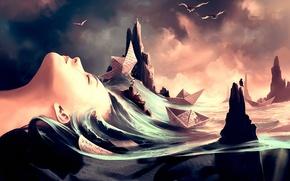 Картинка море, волны, девушка, птицы, арт, профиль, строки, непогода, рифы, бумажные корабли