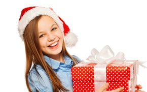 Картинка подарок, шапка, ребенок, девочка, Новый год, girl, Christmas, New Year, gift