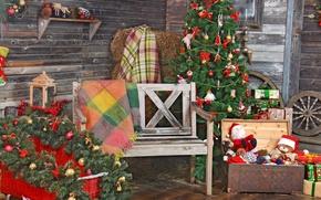 Картинка комната, Happy, Новый Год, vintage, подарки, Merry, игрушки, украшения, Рождество, New Year, Christmas, елка, decoration