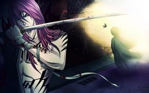 Обои оружие, взгляд, парень, art, ренджи, Bleach, меч, Блич, тату, синигами