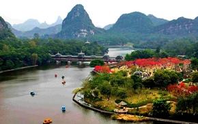 Картинка мост, город, парк, река, Китай, горы Гуйлинь