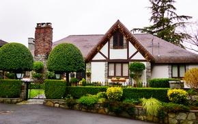 Обои деревья, дом, забор, сад, Канада, Ванкувер, кусты, калитка