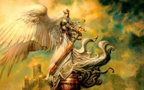 Обои ангел, рисунок, меч, greg staples