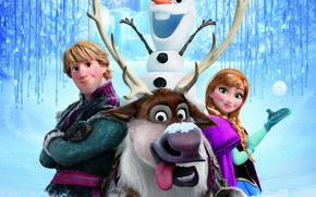 Картинка снег, снежинки, лёд, олень, снеговик, Frozen, принцесса, королевство, Анна, Anna, Walt Disney, анимация, Уолт Дисней, …