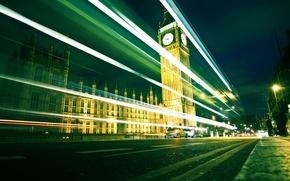 Картинка дорога, машины, города, часы, дороги, англия, лондон, вечер, фотографии, великобритания