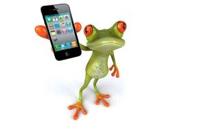 Картинка графика, лягушка, телефон, iphone 4s, Free frog 3d