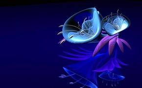 Картинка фантазия, лепестки, пластик, стекло, цветок
