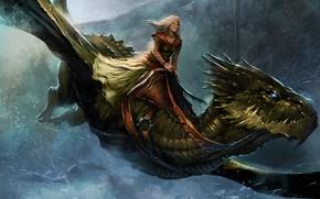 Картинка холод, девушка, полет, город, дракон, game of thrones, иллюстрация к книге, Queen Alysanne, A Song …