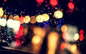 Картинка стекло, капли, ночь, огни, дождь, размытость, боке